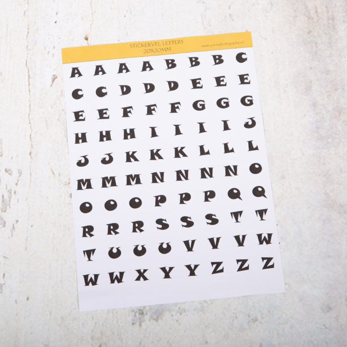 stickervel letters